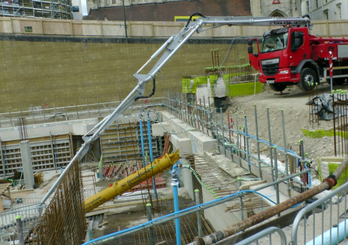 this is a picture of concrete pumping services in stockton